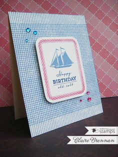 Gingham BG by stamping Pinstripes twice (try with HA)