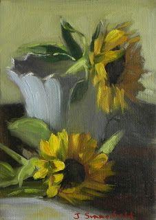 Jonelle Summerfield Oil Paintings: Two Sunflowers
