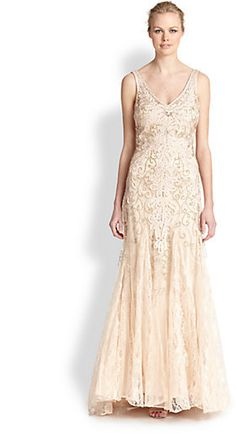 Sue Wong Embroidered V-Neck Chiffon Gown