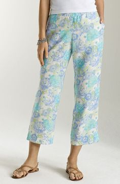 pants > easy linen print cropped pants at J.Jill