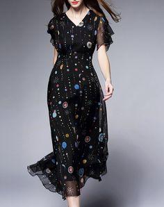 Black Silk Elegant V Neck Half Sleeve Midi Dress, Black, Fantiow   VIPme