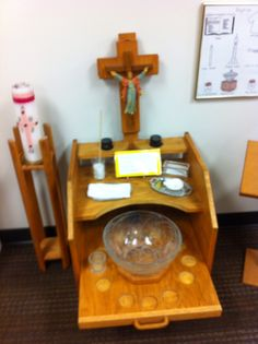 Another view of the baptism work from OLPH in Scottsdale.  Note how the shelf with the model font can slide forward!