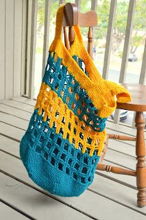 Beach squares crocheted tote bag