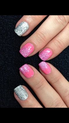 Jessica GELeration Flirty and Tinseltown Treasure with Time to Sparkle Pink Tourmaline and Silver loose nail art glitter. Created by Jenna Swadden.