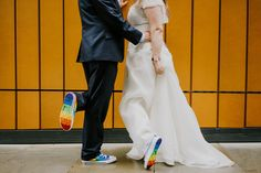 Matching Rainbow Converse Wedding Shoes Couple showing their matching rainbow Converse wedding shoes during their portrait photoshoot in Manchester Wedding Couple Poses, Couple Posing, Wedding Couples, Wedding Ideas, Rainbow Converse, Rainbow Shoes, Converse Wedding Shoes, Converse Shoes, Wedding Photography