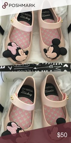 Mini Melissa Disney Minnie Mickey kissing Mouse 8 New in box! Ordered these and another pair for our Disney trip but didn't fit. Size 8. Light pink. Mini Melissa Shoes