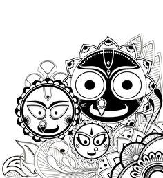 Jagannath Baladeva and Subhadra Doodle Art Drawing, Zentangle Drawings, Mandala Drawing, Mandala Art, Mandala Design, Art Drawings, Indian Folk Art, Indian Artist, Krishna Art