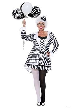 [Halloween Costumes Women] Music Legs Women's Plus-Size Circus Damned, White/Black, *** Check out this great product. (This is an affiliate link) Cute Clown Costume, Clown Costume Women, Circus Halloween Costumes, Ringmaster Costume, Circus Costume, Costume Hats, Halloween Kostüm, Costumes For Women, Costume Ideas