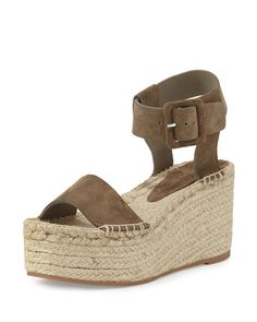 """Vince sport suede espadrille sandal. 3.5"""" jute-wrapped platform sole. Strap bands open toe. Adjustable ankle-wrap strap. Rubber outsole. """"Abby"""" is imported."""