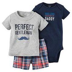 """Baby Boy Carter's """"Perfect Gentleman"""" Tee, Bodysuit & Shorts Set"""