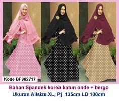 Baju Gamis Modern Terbaru - Detail produk model baju Gamis syari polka 717 : Bahan : Spandek korea maxi katun onde Kode : BF902717 Ukuran : Allsize Fit To XL, Panjang 135cm, Lingkar d