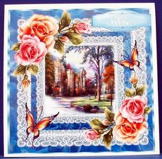 Beautiful Castle all lite up  on Craftsuprint designed by Ceredwyn Macrae - made by Cheryl French - Printed onto glossy photo paper. Attached base image to 8x8 card stock using ds tape. Built up image with 1mm foam pads. - Now available for download!