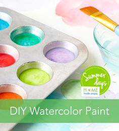 DIY watercolor paint is the perfect craft for kids! Get our simple instructions for DIY watercolor paint that everyone in the family can help create. You'll only need 5 household ingredients to make custom watercolor paint colors. Whip them up and get started painting in no time. It's a great summer craft for kids.