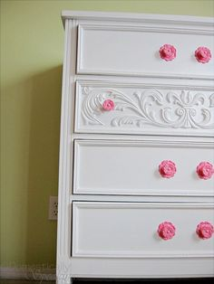 use crown molding to spice up a garage sale dresser