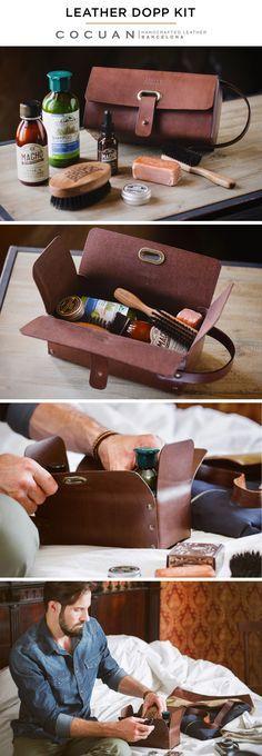 LEATHER DOPP KIT www.cocuan.com para produtos de sapatos