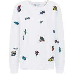 Mira Mikati White Cotton Patch Sweatshirt (£290) ❤ liked on Polyvore featuring tops, hoodies, sweatshirts, cotton sweatshirt, embroidered sweatshirts, white top, white cotton tops and cotton crop top