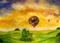 GALERIA PALOMO MARIA: VIAJE EN GLOBO...... Painting, Water Colors, Paintings, Painting Art, Drawings