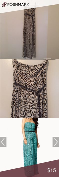 Tribal maxi dress beige size medium  to be clear: the first pic is for style inspiration  I am selling it in beige NOT teal. The belt is included. The designer is Iris Los Angeles! This is a light weight dress with a lot of stretch. No stains or tears... It is in good pre-loved condition. Belt has some minor wear. Iris Dresses Maxi