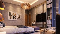 Amber-glamorous-bedroom-rustic-door-with-iron-handle-origami-amber-light-tones-of-brown-beige-and-stone.jpg (1400×788)
