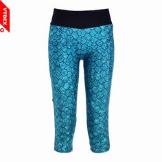 VTDEX 2017 New Sports Leggings Capri GYM Blue Scale Women Running Stretch Pants Quick Dry Fitness Trousers Workout Tights #Affiliate
