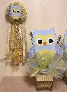 Baby Shower Owl Center pc & Corsage