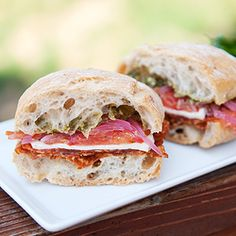 t's sandwich time... calabrese sandwich with all of the good stuff.