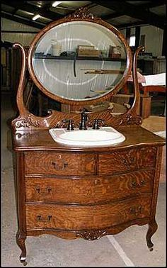 Photo of Front View - Antique Bathroom Vanity: Bow Front American Dresser for Bathroom Sink Vanity Ideal Bathrooms, Modern Bathroom, Small Bathroom, Bathroom Ideas, Chic Bathrooms, Dresser Sink, Bathroom Sink Vanity, Dresser Drawers, Dresser Ideas