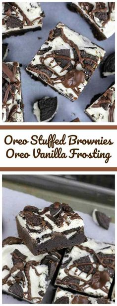 These Oreo-stuffed fudgy brownies are rich and decadent and the vanilla frosting on top, mimics the Oreo frosting found in the middle of Oreo cookies and then there are more Oreo cookies loaded on top with a chocolate ganache drizzle. Oreo Dessert, Brownie Desserts, Mini Desserts, Oreo Brownies, Brownie Recipes, Dessert Bars, Chocolate Recipes, Easy Desserts, Cookie Recipes