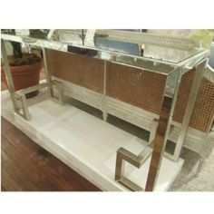 Perseus Console   Currey & Company   Greek key elements on iron and mirror for a sleek modern entryway .  * pair with a bench!