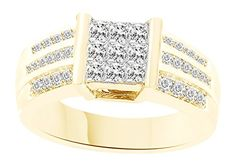 0.1 Cttw AFFY Green Natural Diamond Band Ring in14k Gold Over Sterling Silver