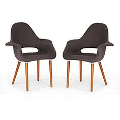 Forza Brown Fabric Mid-Century Modern Arm Chairs (Set of 2) - Pinned them last year and still want them now