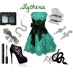 slytherin outfit for girls - Bing images Harry Potter Kostüm, Harry Potter Dress, Harry Potter Outfits, Movie Inspired Outfits, Themed Outfits, Disney Dresses, Prom Dresses, Cute Dresses, Disney Clothes
