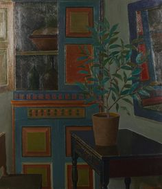Interior - Veikko Vionoja Finnisch, 1909 - 2001 Oil on canvas, 116 x 102 cm x in) Digital Museum, Collaborative Art, Scandinavian Modern, Magazine Art, Art Market, Decorating Tips, Oil On Canvas, Modern Art, Fine Art