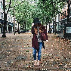 Perfect fall outfit - black striped shirt, burgandy waterfall cardigan.