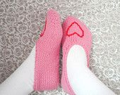 Women's Pink Slippers, Hand Knit Slippers, Pink with Heart Sz. 7 - 9, Ballerina Slippers Teens Soft Rose Pink & Red Cushy House Socks
