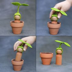 cute : diy wooden peg Sprout in a mini terra cotta pot (from Beetle and Fern) Puppen Fuchs Spring is coming! Spring is coming! Wood Peg Dolls, Clothespin Dolls, Waldorf Crafts, Waldorf Toys, Wooden Pegs, Wooden Diy, Easter Crafts, Crafts For Kids, Fairy Dolls