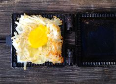 Eggs in a Nest Mountain Pie A bunch of breakfast favorites all bundled up in one little pie iron.