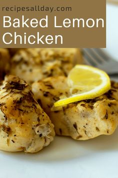 This recipe for baked lemon chicken is so easy to make in half-an-hour. A delicious low-fat lean meal. Tasty and juicy for the main meal served with veggies or as a light lunch with a salad or roll. #baked #chicken #lemon #dinner #lean