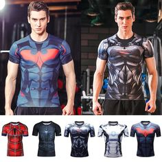 36754674d Mens Superhero Compression Marvel Top T-shirts Short Sleeve Sport Bicycle  Jersey