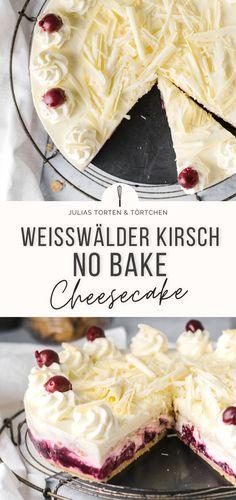 Einfaches und schnelles Rezept für No Bake Cheesecake ohne Gelatine. Schwarzwälder Kirschtorte perfekt für den Sommer ... als Käsekuchen und mit weißer Schokolade, Kühlschranktorte ganz ohne Backen. #nobake #cheesecake #käsekuchen #kühlschranktorte