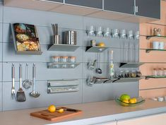 We have a wide array of products that come together to create and maintain the ultimate kitchen organization. Say goodbye to your ugly kitchen. Slat Wall, Functional Kitchen, Kitchen Backsplash, Kitchen Organization, Cabin Kitchens, Backsplash, Kitchen Tools Organization, Kitchen, Kitchen Cabinets