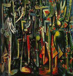 """Negritude Painting, """"La Jungla"""" by Cuban-born  Afro-Chinese Painter Wilfredo Lam"""