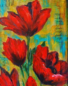 And I have to give my Golden fluid acrylics part of the credit for helping these flowers come to life. The main colors I used were Alizarin Crimson Hue and ...