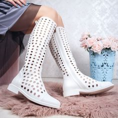 Cizme de vara perforate dama albe Ralesia Rubber Rain Boots, Knee Boots, Casual, Shoes, Fashion, Moda, Zapatos, Shoes Outlet, Fashion Styles