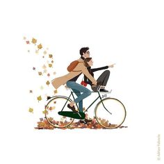 The most picturesque season with so many hot colors are so pretty that wants to perpetuate the photo or drawing autumn Bicycle Illustration, Autumn Illustration, Family Illustration, Character Illustration, Friday Illustration, Fall Drawings, Couple Drawings, Love Drawings, Love Cartoon Couple