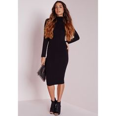 Missguided Long Sleeve Roll Neck Jersey Midi Dress ($31) ❤ liked on Polyvore featuring dresses, black, mid calf dresses, layered dress, jersey dress, black jersey dress and black layered dress