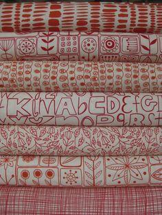Lucie Summers, Summersville, London Bus Red/Orange Zest in FAT QUARTERS -- pillows?