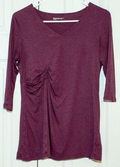 d408254bdb932 GAP MATERNITY Supersoft 3/4 Sleeve Purple V-neck Top Medium #fashion #