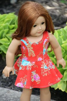 Red Floral dress by Closet4Chloe. Made using the Versatility Dress pattern, found at http://www.pixiefaire.com/products/the-versatility-dress-18-doll-clothes.  #pixiefaire #versatilitydress