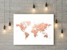 Rose gouden wereldkaart print roze en goud door YourLittlePoster
